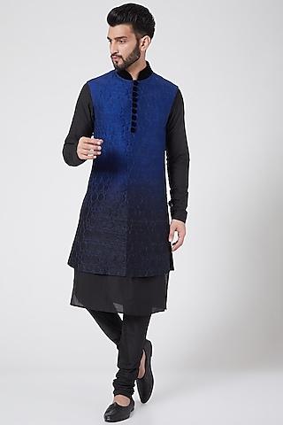 Black & Blue Sherwani Set by Manish Nagdeo