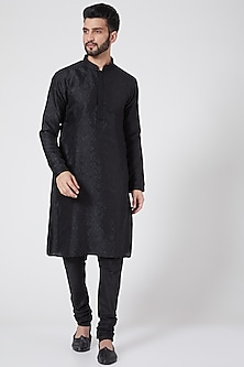 Black Brocade Kurta Set by Manish Nagdeo
