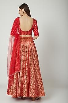 Red Embroidered & Printed Lehenga Set by Seema Nanda