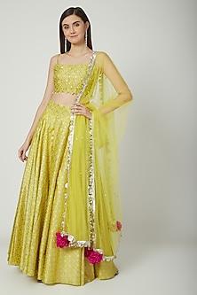 Yellow Embroidered & Printed Lehenga Set by Seema Nanda