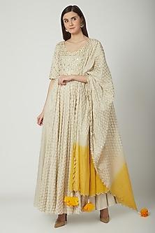 White Ombre Embroidered Anarkali Set by Seema Nanda
