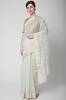 Mint Green Zari Saree Set by Mint n oranges