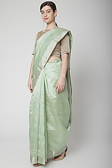 Mint Green Handwoven Saree Set by Mint n oranges