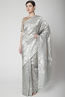 Grey Saree Set With Zari Weave by Mint n oranges