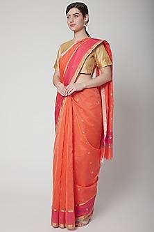 Orange Saree Set With Stripes by Mint n oranges