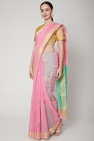 Blush Pink Handwoven Chanderi Saree Set by Mint n oranges