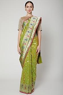 Emerald Green Handwoven Banarasi Saree Set by Mint n oranges