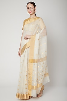 Ivory Handwoven Chanderi Saree Set by Mint n oranges