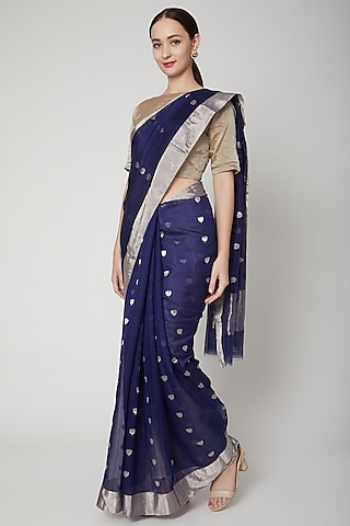 Midnight Blue Handwoven Chanderi Saree Set by Mint n oranges