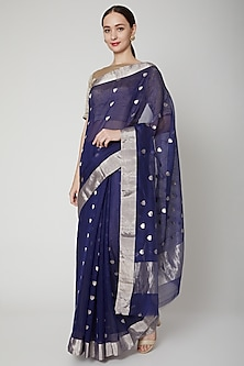 Midnight Blue Handwoven Chanderi Saree Set by Mint n oranges