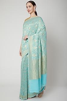 Sky Blue Handwoven Banarasi Saree Set by Mint n oranges