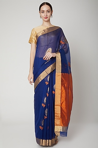 Navy Blue & Burnt Orange Handwoven Saree Set by Mint n oranges