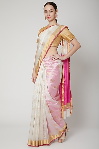 White & Pink Handwoven Saree Set by Mint n oranges