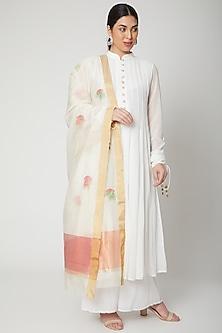 Off White Handwoven Chanderi Dupatta by Mint n oranges