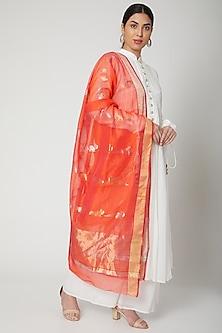 Orange Handwoven Chanderi Dupatta by Mint n oranges