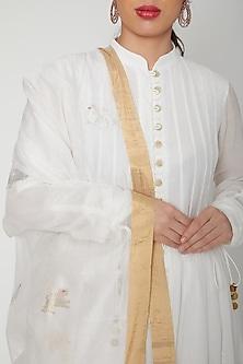 White Handwoven Chanderi Dupatta by Mint n oranges
