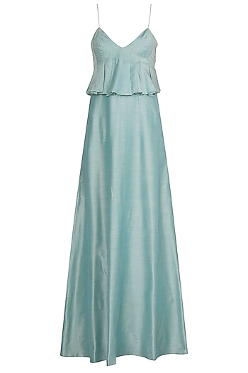 Aqua Blue Anarkali Gown with Embellished Dupatta by Manishii