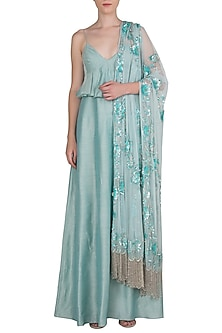 Aqua Blue Anarkali Gown with Embellished Dupatta by Manishii