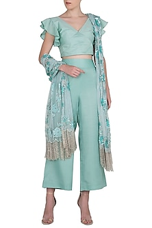 Aqua Blue Crop Top and High Waisted Trousers with Embroidered Dupatta by Manishii