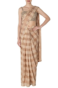 Brown Handwoven Saree with Embroidered Blouse by Manishii