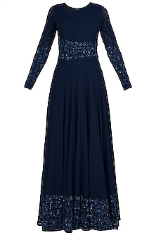 Midnight Blue Embroidered Lace Anarkali Gown by Manishii
