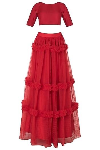 Red Tiered Embroidered Lehenga Skirt Set by Manishii