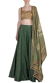 Moss Green Embroidered Lehenga Set with Banarasi Dupatta by Manishii