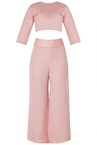 Pink Crop Top and High Waisted Trousers with Lucknowi by Premya by Manishii