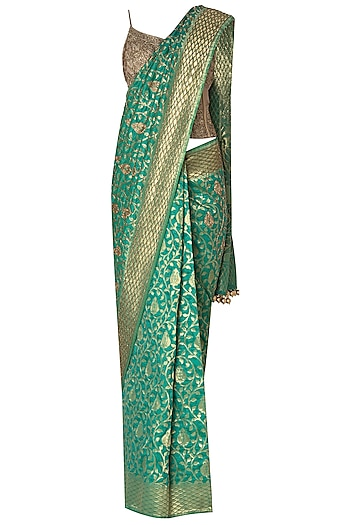 Green Banarasi Saree with Gold Embroidered Corset by Manishii