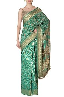 Green Banarasi Saree with Gold Embroidered Corset by Manishii