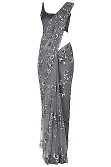 Grey Sequins Embroidered Saree Set by Manishii