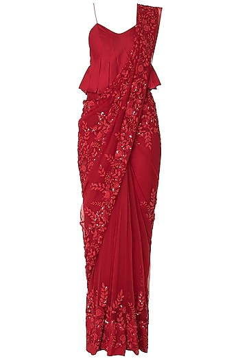 Red Floral Emboridered Saree with Peplum Blouse by Premya by Manishii