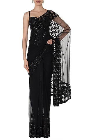 Black Embroidered Saree with Corset by Premya by Manishii
