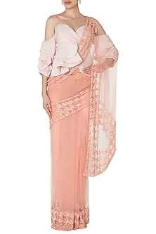 Seashell Pink Embroidered Saree with Ruffled Cold Shoulder Blouse by Manishii