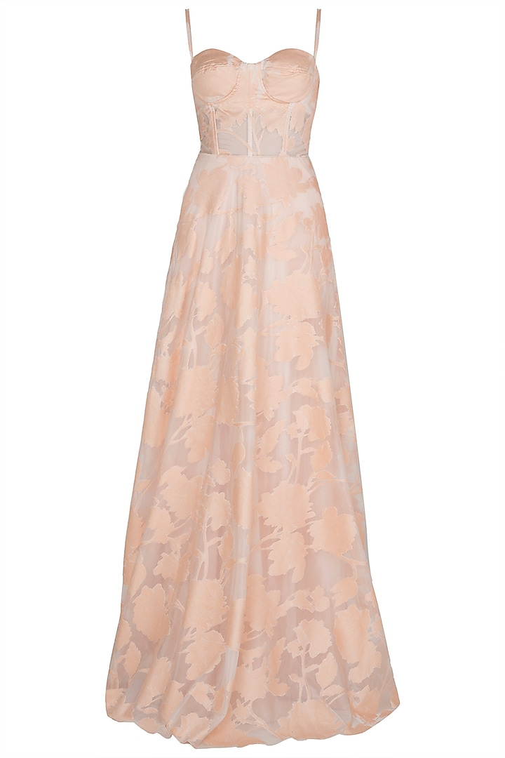 Salmon Pink Embossed Gown by Premya by Manishii