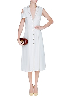 Ivory Cold Shoulder Front Buttoned Midi Dress by Manika Nanda