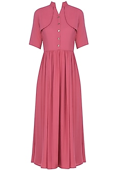Pink Shoulder Flap Front Buttoned Midi Dress by Manika Nanda