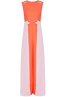 Orange and Powder Pink Panelled Colorblock Jumpsuit by Manika Nanda