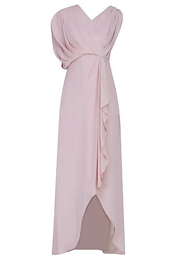 Nude Pleated Sleeve High Low Toga Gown by Manika Nanda