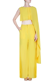 Yellow Draped Crop Top and Flared Pants Set by Manika Nanda
