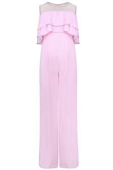 Powder Pink Double Tiered Jumpsuit by Manika Nanda