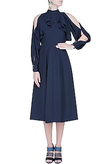 Midnight Blue Cutout Sleeved Skater Dress by Manika Nanda