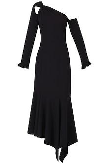 Black High Low One Shoulder Dress by Manika Nanda