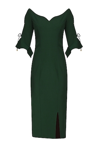 Pine Green Fitted Dress by Manika Nanda