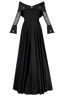 Black Off Shoulder Audrey Gown by Manika Nanda