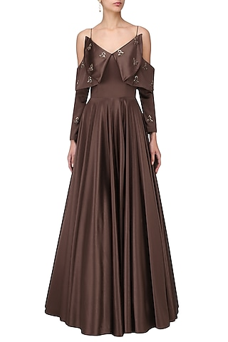 Dark Mohagony Cold Shoulder Gown by Manika Nanda
