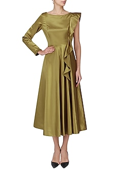 Gold Bronze Frilled Midi Dress by Manika Nanda