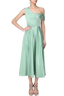 Tiffany Green One Shoulder Midi Dress by Manika Nanda