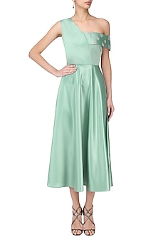 Tiffany Green One Shoulder Midi Dress by Manika Nanda