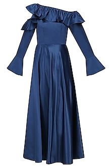 Electric Blue Cold Shoulder Frilled Dress by Manika Nanda